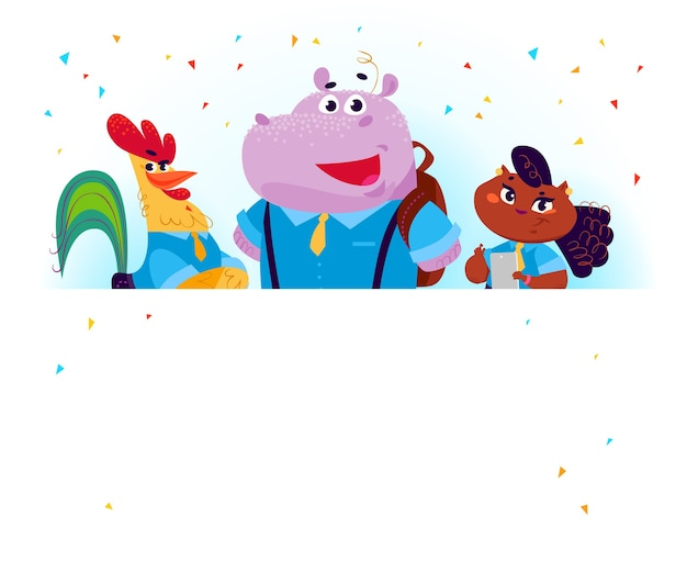 Flat collection of happy animal student standing behind banner. back to school illustration