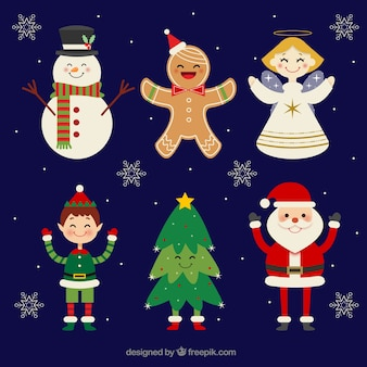 Flat collection of happy christmas characters