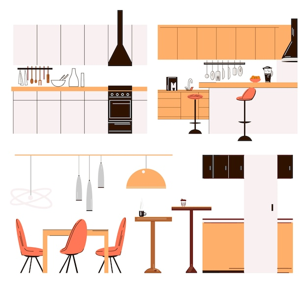 Flat collection of home kitchen modern furniture - kitchen tables, bar chairs, dinner tables, cooker and cook accessories. modern minimalist kitchen set isolated on white.