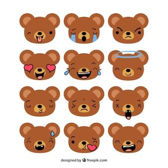 곰 이모티콘의 평면 컬렉션