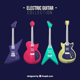 Плоская коллекция цветных электрогитар