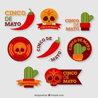 Flat collection of colored stickers for cinco de mayo