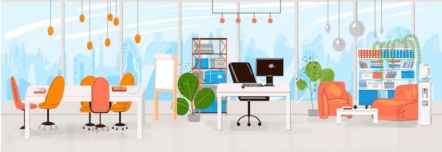 현대적인 열린 공간과 빈 사무실 인테리어-비즈니스 및 현대 공동 작업 illustraton 창조적 인 직장의 플랫 컬렉션. 평평한 수평 조성.