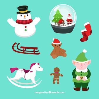 Плоский коллекция различных рождественских элементов