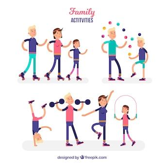 다른 활동을하는 가족의 플랫 컬렉션