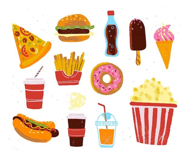 Плоская коллекция объектов быстрого питания еды. рука нарисованные эскиз стиля.