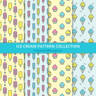 맛있는 아이스크림으로 4 가지 패턴의 플랫 컬렉션