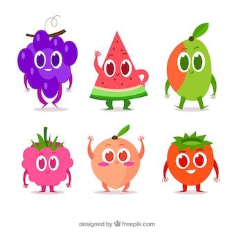 Плоская коллекция персонажей фруктов