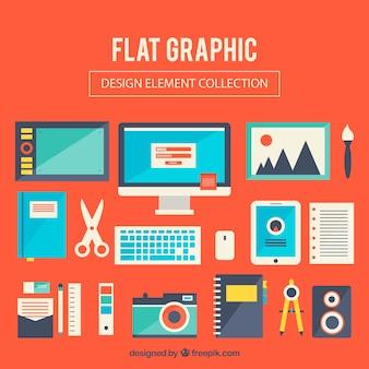 Плоская коллекция элементов графического дизайна