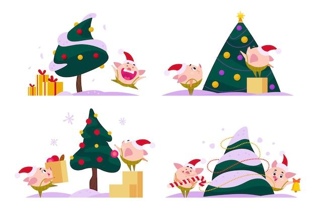 Плоская коллекция с рождеством христовым счастливая свинья эльф на новогодней елке кольцо колокольчик нести леденец усилитель подарочная коробка прыжок счастливый украсить елку