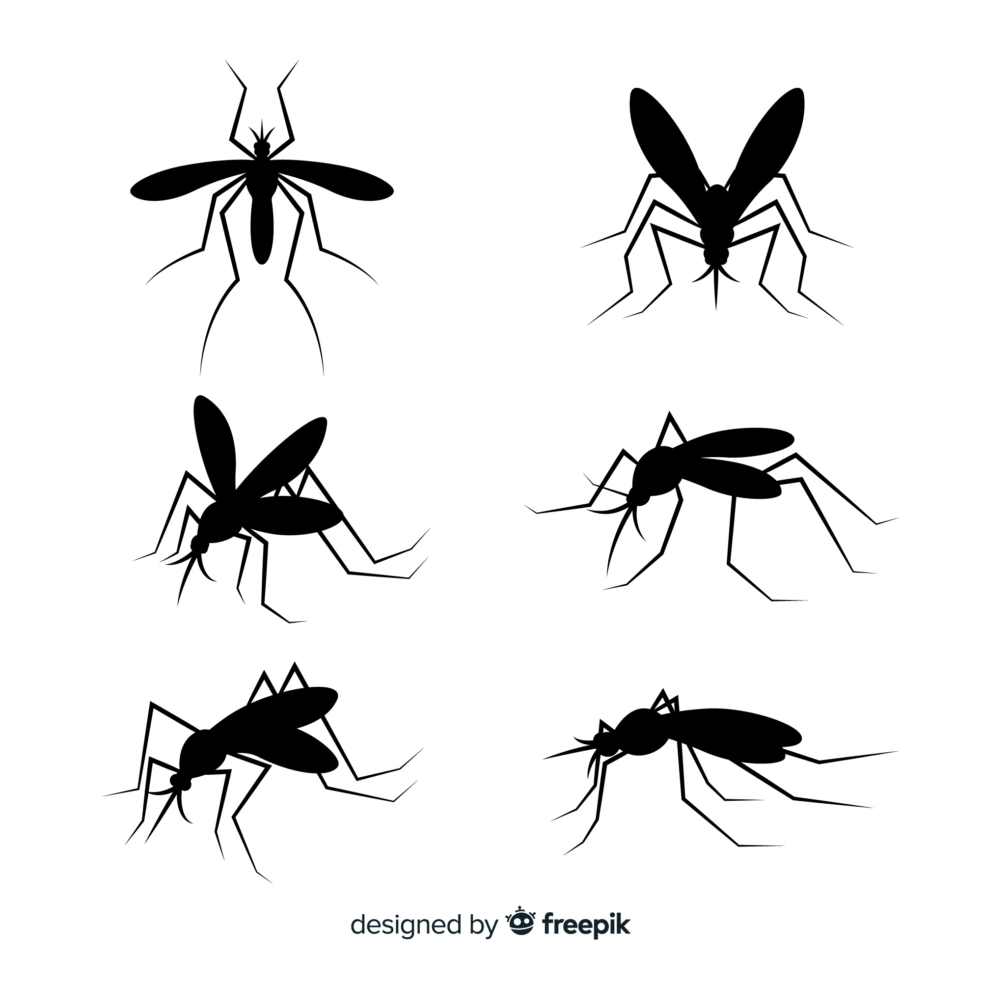 Flat collection of mosquito silhouettes