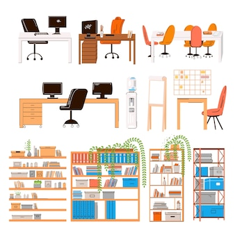사무실 및 가정 작업 장소, 워크 스테이션의 평면 컬렉션-팀용 가구 세트-모니터, 테이블, 의자, 사무실 물, 관리자 좌석, 회의 테이블, 식물 선반이있는 책상.
