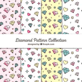 Плоская коллекция узоров с сердцами и бриллиантами