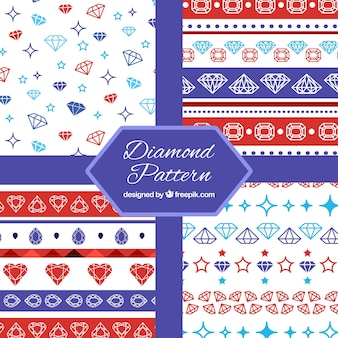 Flat collection of patterns with colored diamonds