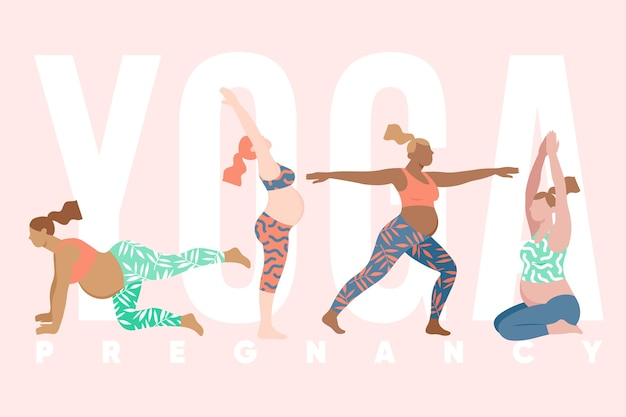 Flat collection of people doing yoga