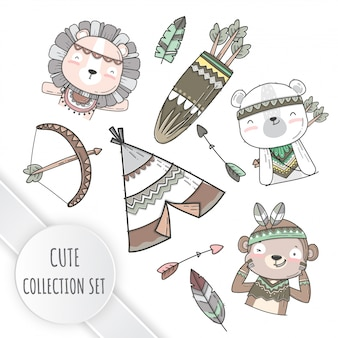 Flat collection set cute boho style