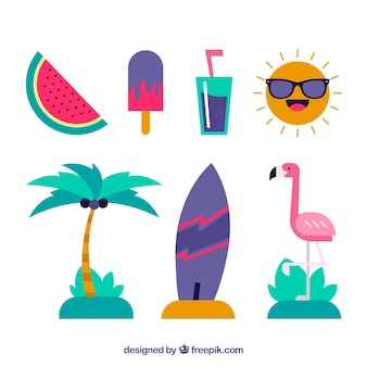 Flat collection of summer elements