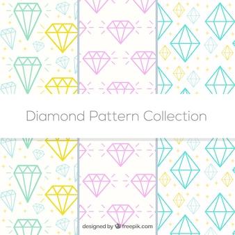 Flat collection of three diamond patterns