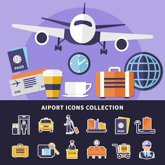 Flat collection of various airport icons isolated
