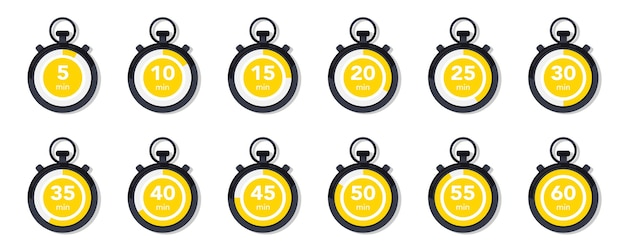 Плоская коллекция с секундомером. набор иконок таймера. векторные иконки часов. обратный отсчет минут. коллекция времени, часы, часы, таймер. тайм-менеджмент. спортивные часы, элемент дизайна вектор