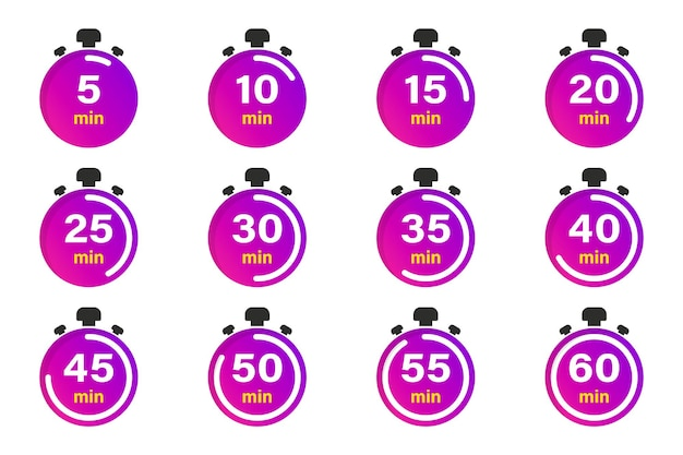 Flat collection with stopwatch. timer icon set. clock vector icons. countdown minutes. collection of time, clock, watch, timer. time management. sport clock, vector design element