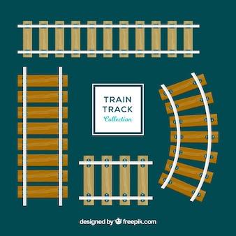Collezione piatta di binari ferroviari in legno