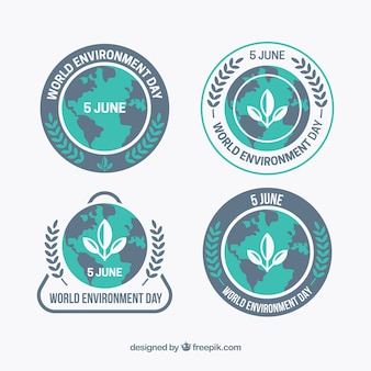 Flat collection of world environment day labels