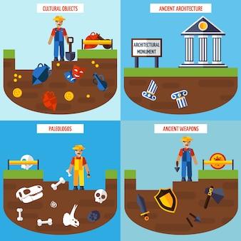 Flat color  archeology design concept set