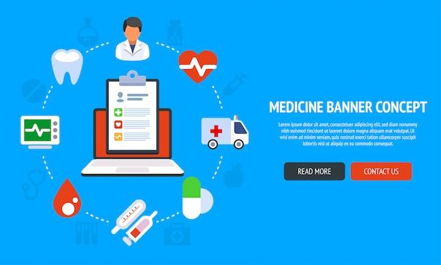 Плоский дизайн баннера для медицины и здравоохранения и онлайн-лечения.