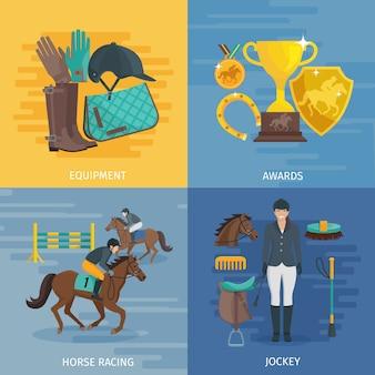 Flat color design composition depicting concept of horse racing equipment equestrian awards jockey vector illustration