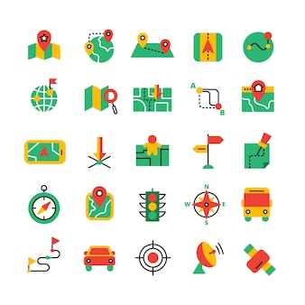 Flat color gps and navigation icons set with satellite equipment vehicles and road route isolated vector illustration