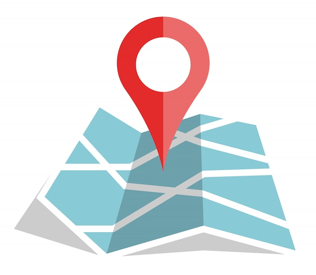 Flat color location icon on paper map