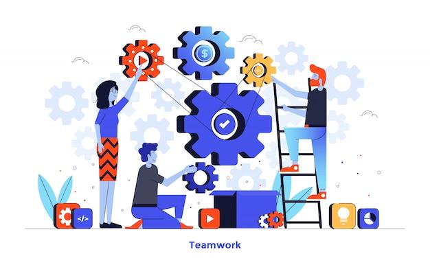 Flat color modern illustration design - teamwork