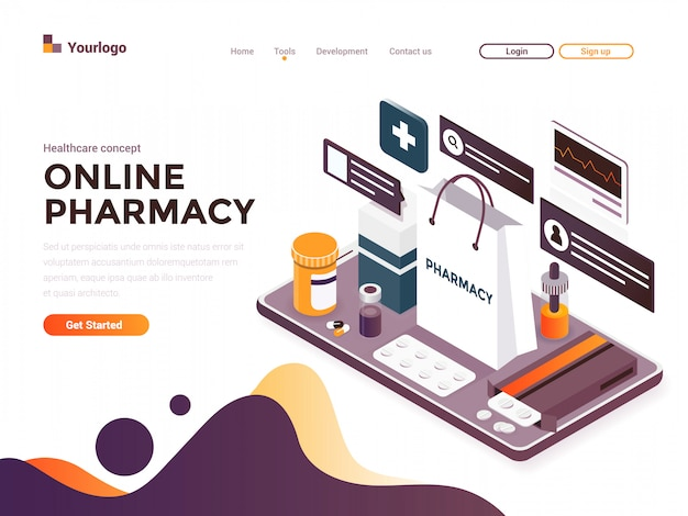 Flat color modern isometric concept illustration - online pharmacy