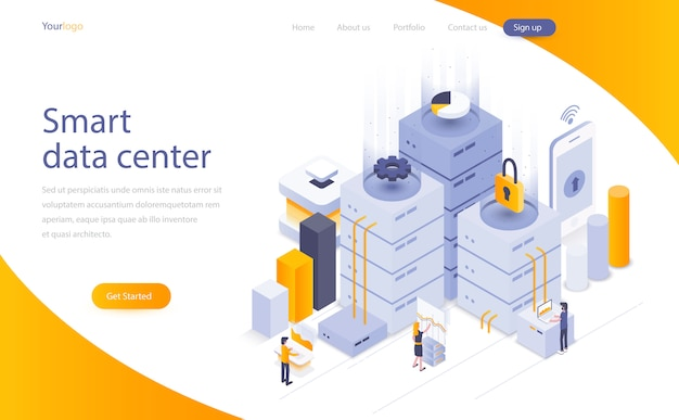 Modern data hosting concept Vector | Free Download