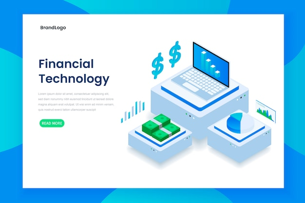 Flat color modern isometric financial technology concept landing page