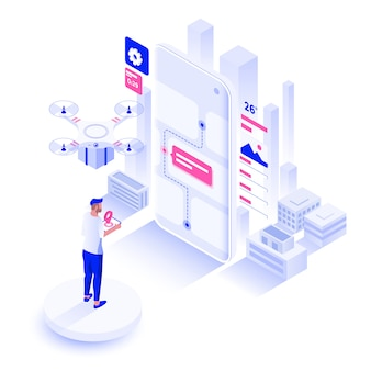 Flat color modern isometric illustration design