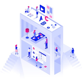 Flat color modern isometric illustration education