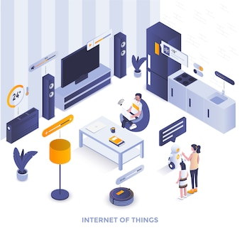 Flat color modern isometric illustration  - internet of things