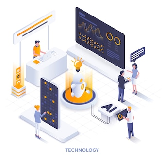 Flat color modern isometric illustration  - technology