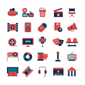 Flat color set of movie icons and cinema symbols with camcorder tv screen 3d glasses and filming attributes isolated vector illustration