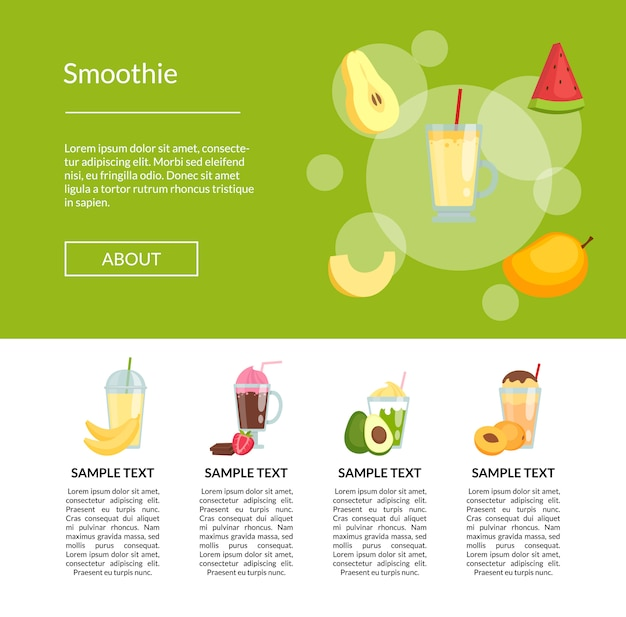 Flat color smoothiebanner landing page
