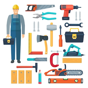 Flat color tools set with  woodworker in overalls toolbox and tools for sawing and carpentry isolated vector illustration