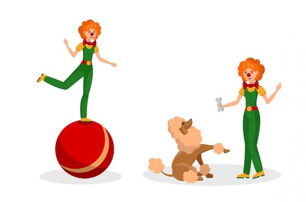 Дружественная клоунская репетиция flat color иллюстрация