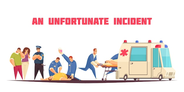 Flat colored ambulance composition with an unfortunate incident description and patient care vector illustration