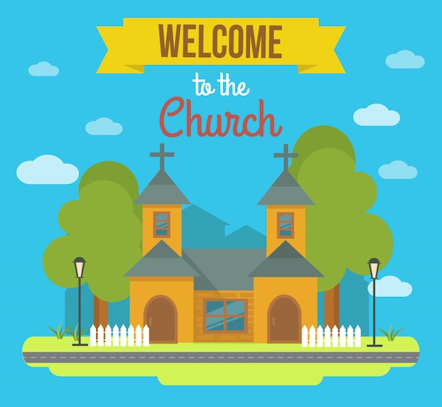 Flat colored building illustration with landscape and headline welcome to the church