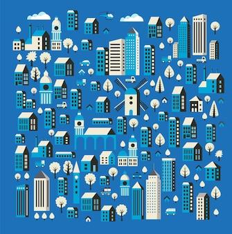 交通機関や樹木とアイコンと青い色の形でフラットカラーの建物の都会的なスタイル