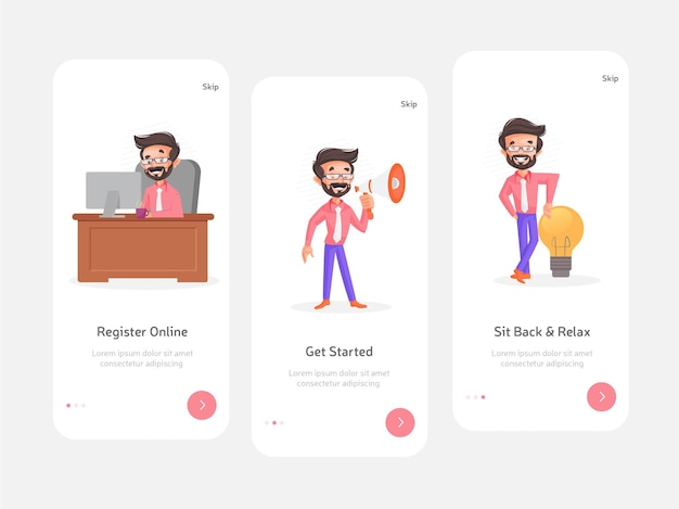 모바일 앱용 스플래시 화면의 평면 컬러 디자인