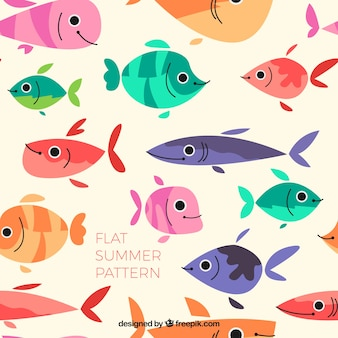 Flat colored fishes pattern