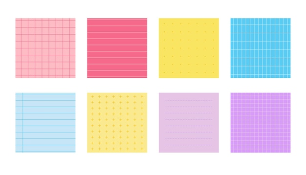 Flat colored paper notes set squared templates sheet with different linear cross dotted and grid pat...